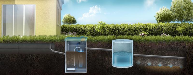 Отвод очищенной воды из септика Топас в дренажный колодец