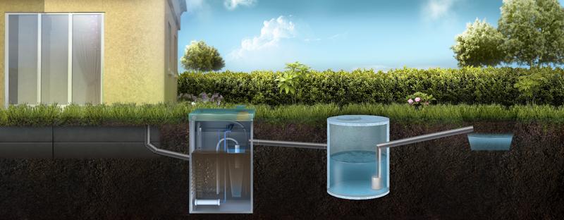 Отвод очищенной воды из септика ТОПАЗ через накопительный резервуар в ливневую канаву