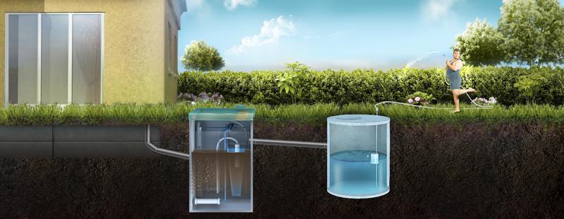 Отвод очищенной воды из септика ТОПАС в накопительный резервуар для повторного использования